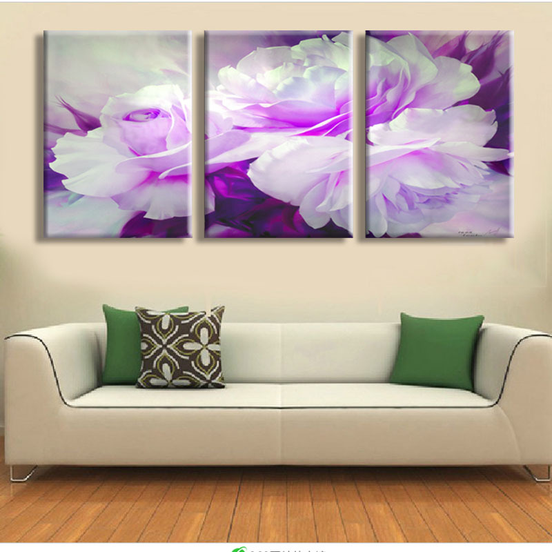 3 piece modern printed white purple lover flower wall art on canvas painting home decor for - Cheap Canvas Wall Art