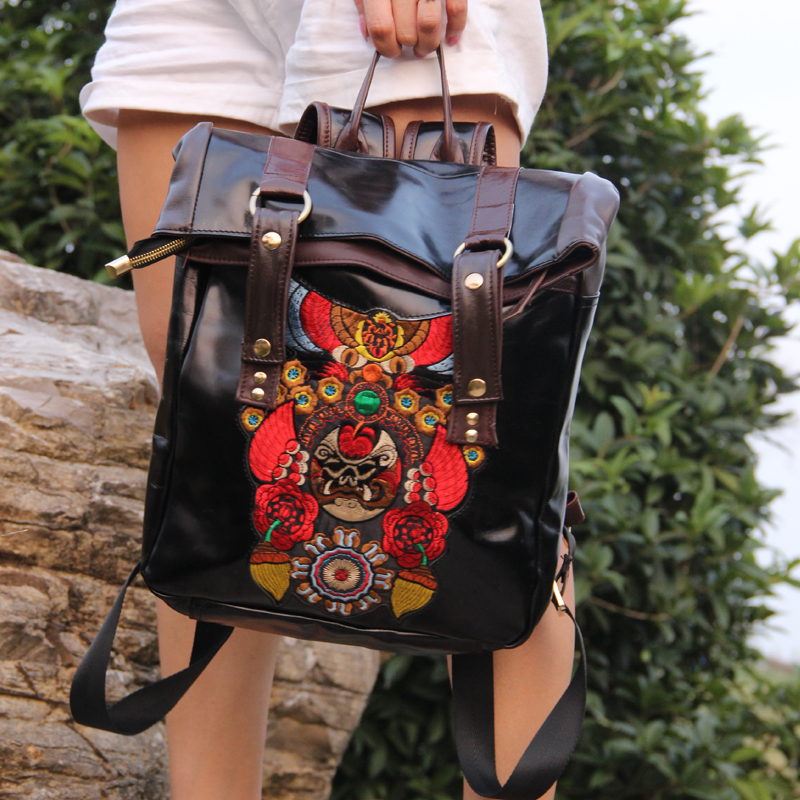 Special offer bags High quality genuine leather sample backpack Unisex embroidered travel backpack