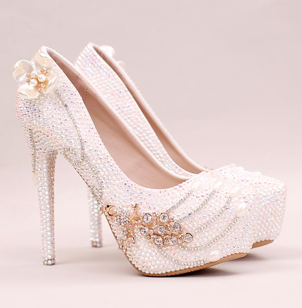 ФОТО 14CM super high heeled platforms crystal pumps shoes woman shinny blingbling white wedding party dinner pumps shoes TG680