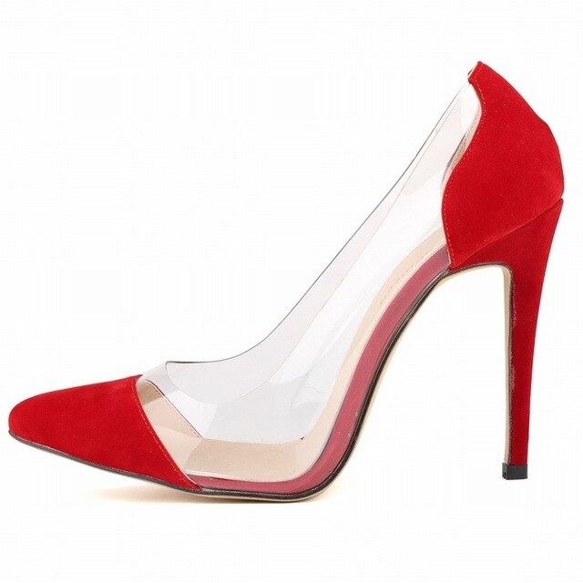 Офис & Карьера Женщины Лето Насосы Писк Обувь Вид цвет Пластика и Мягкой Кожи Острым Носом Основные Высокие Тонкие Каблуки насосы