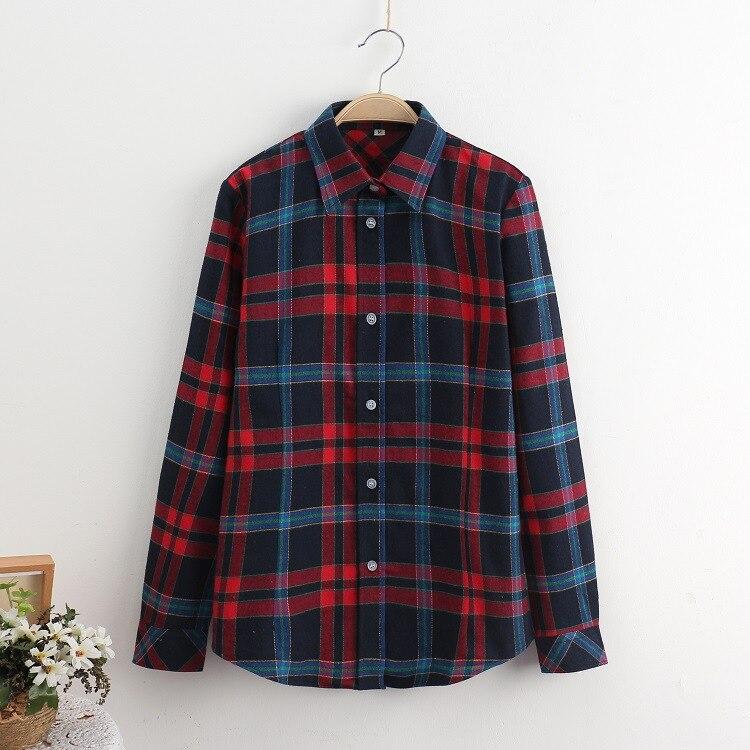 2018 Fashion Plaid Shirt Female College Style Women's Blouses Long Sleeve Flannel Shirt Plus Size Casual Blouses Shirts M-5XL 25