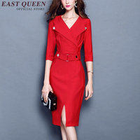Womens Business Suits Business Dress Clothes Ladies Autumn Office Wear Long Sleeve Patchwork Work Dress Business