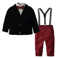 Newborn Baby Boy Clothes set Cotton 5PC Toddler Baby Boy Bowtie Gentleman Coat T Shirt Pants Wedding Suit Cloth Sets F514
