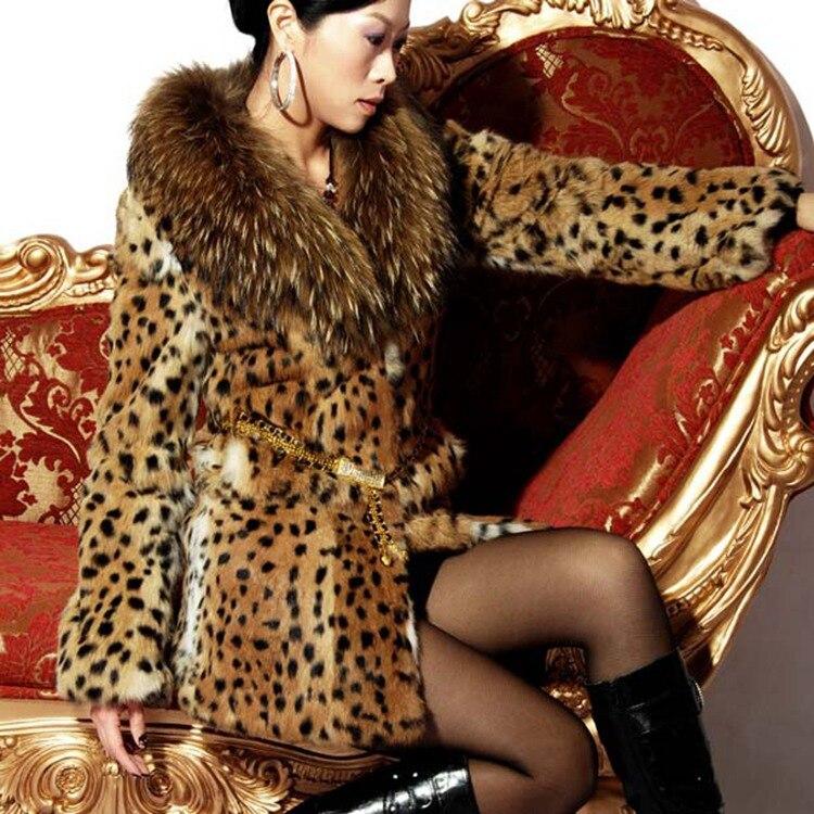Grande Promotion De Mode Chaude Nouvelles Femmes Naturel Réel léopard couleur de fourrure de lapin manteau long avec véritable fourrure de raton laveur collier femme veste
