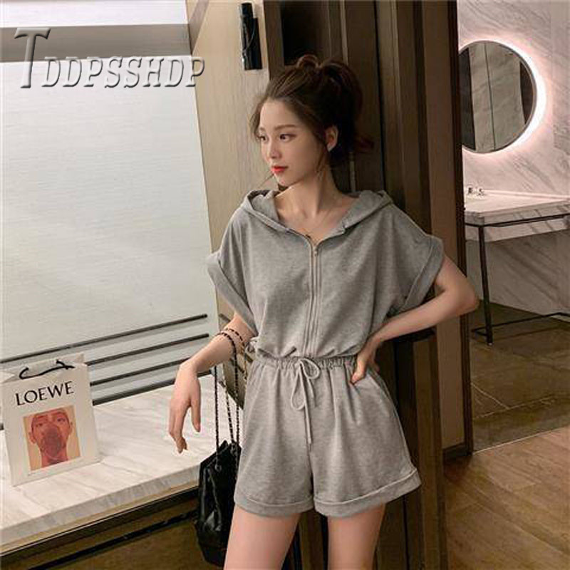 2019 Summer Korean Women Jumpsuit Grey And Black Color Female Playsuit