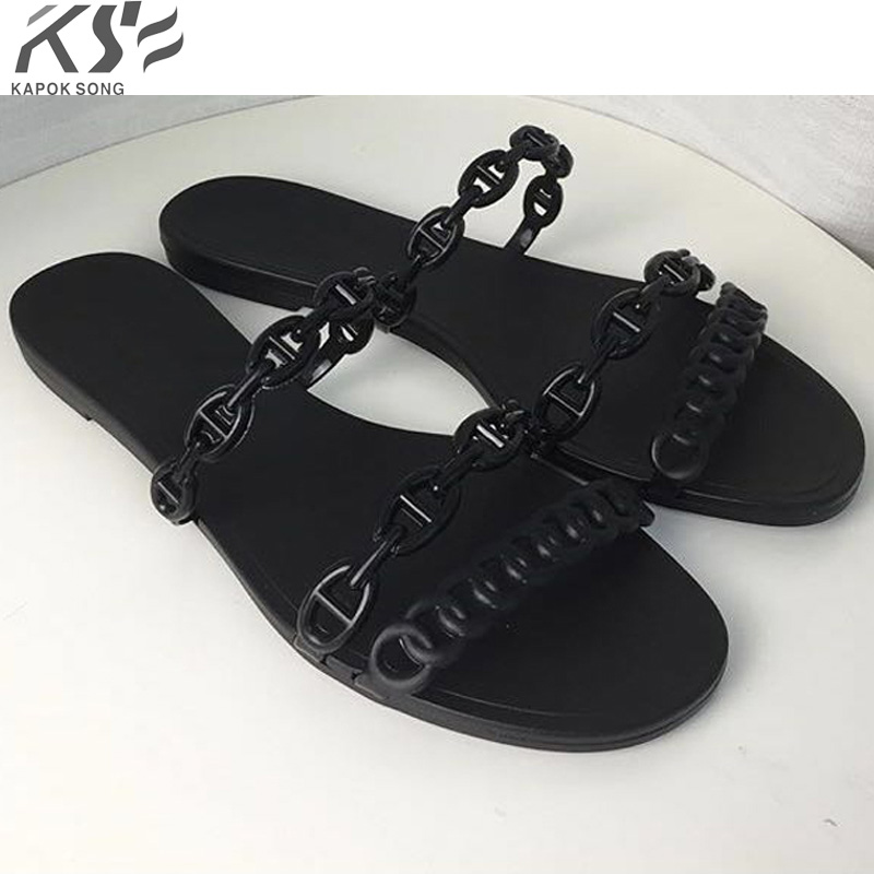 2018 new arrival summer H sandals women jelly shoes transparent comfortable shoes sexly luxury brand designer flats lad