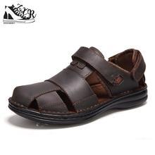 Luxury Genuine Leather Summer Shoes Men Sandals Fashion Male Sandalias  Beach Shoes Soft Bottom Breathable( 4111e0c76288