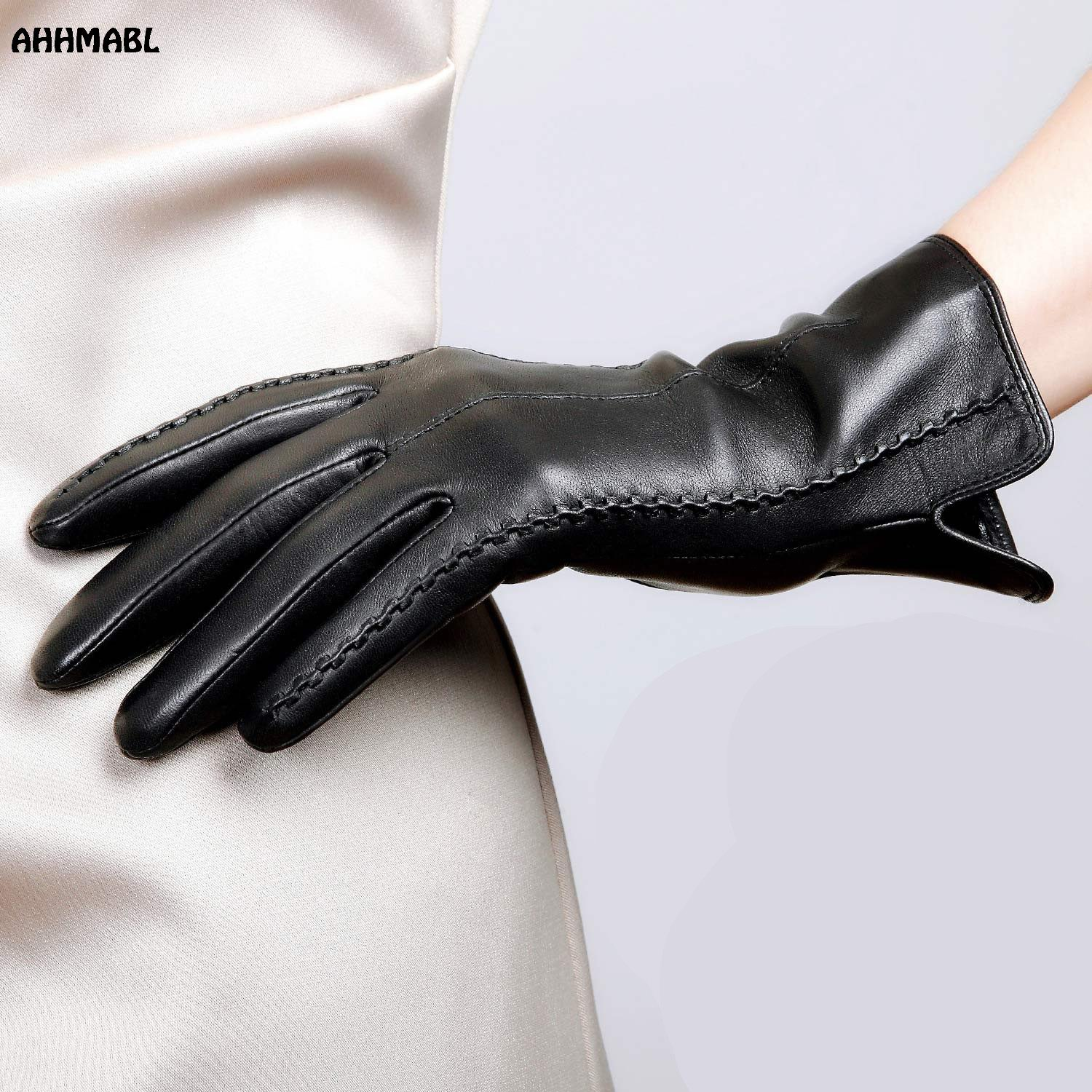 High Quality Elegant Women Leather Gloves Genuine Lambskin Leather Autumn Spring Winter Thermal Hot Trendy Female Glove G564