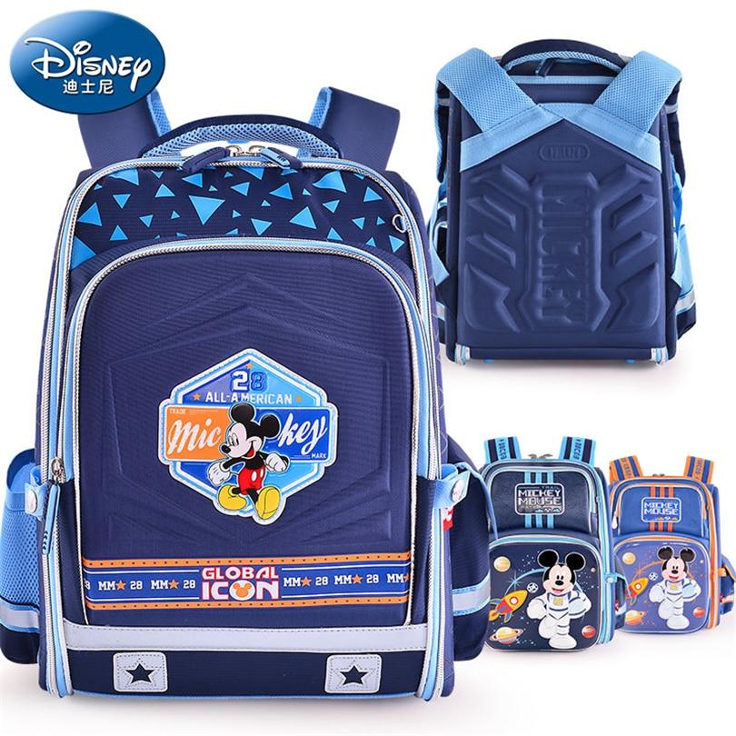 цена на Disney Mickey Mouse Waterproof Orthopedic Backpack School Bags for Boys Cartoon Space Mickey Schoolbag Kids Satchel Grade 1-5