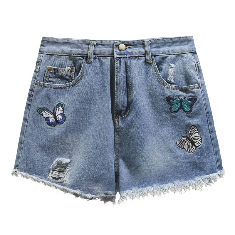 5xl plus big size denim jeans   shorts   women summer style 2018 feminina cute sweet embroidery denim   shorts   female A5023