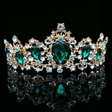 Baroque Vintage Green Royal Tiara Crowns Bride Blue Red Queen Crown Gold Bridal Headband Wedding Tiara For Women Hair Jewelry