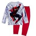 Cinza Meninos Pijamas Ternos Crianças Pijamas de Manga Longa Do Homem Aranha Aranha homem Esporte Se Adapte Às Crianças Infantil Set Roupas pijama 2 a 7 ano