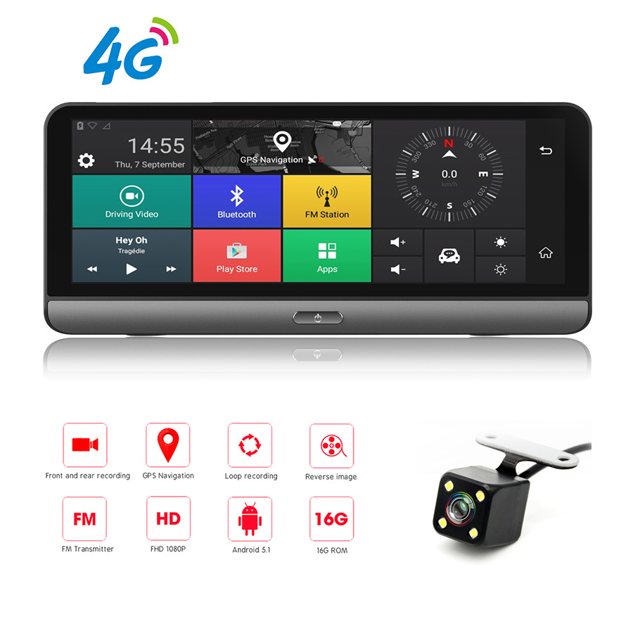 8 Inch 4G Wifi Android 5.1 Touch IPS Bluetooth Video Recorder Dash Cam FHD 1080P Dual Lens Navigation Parking Monitoring GPS DVR