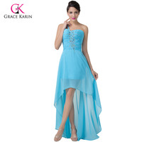 Charming Sky Blue Grace Karin One Shoulder High Low Prom Dress Chiffon Long Beaded Evening Gown