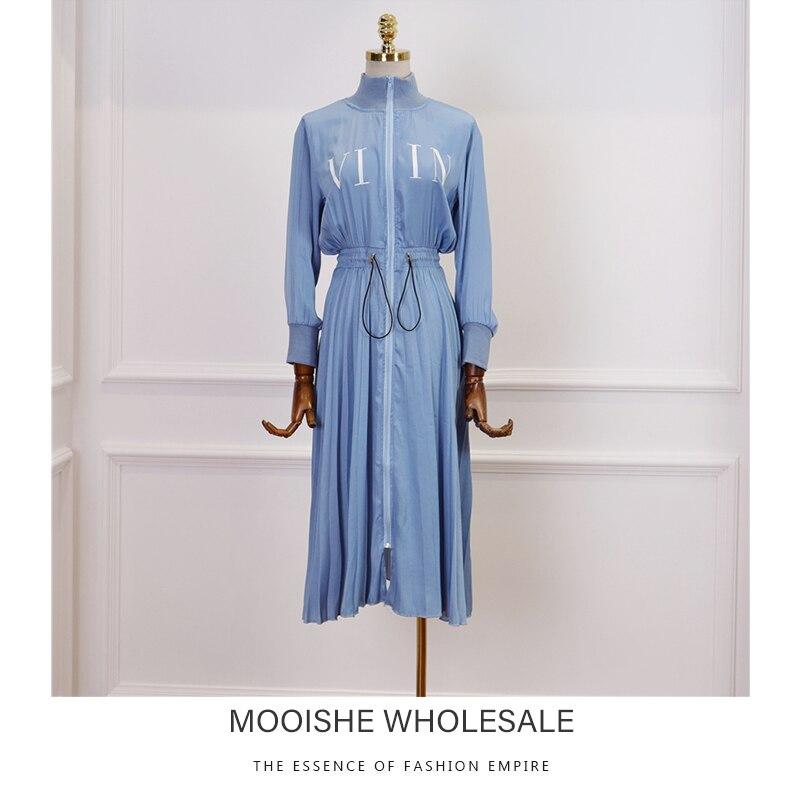 2019 Spring Summer New Women's Casual Wind Stitching High neck Stretch Waist Slim Blue Long Dress