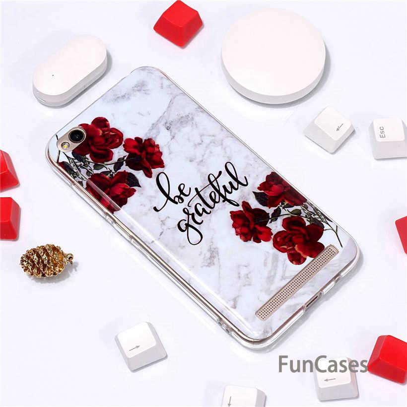 Coque pour Xiaomi Redmi 5 Plus 5A 4X coque pour Redmi Note 5 Pro coque souple luxe marbre fleur lettre Silicone coque arrière Xiaom