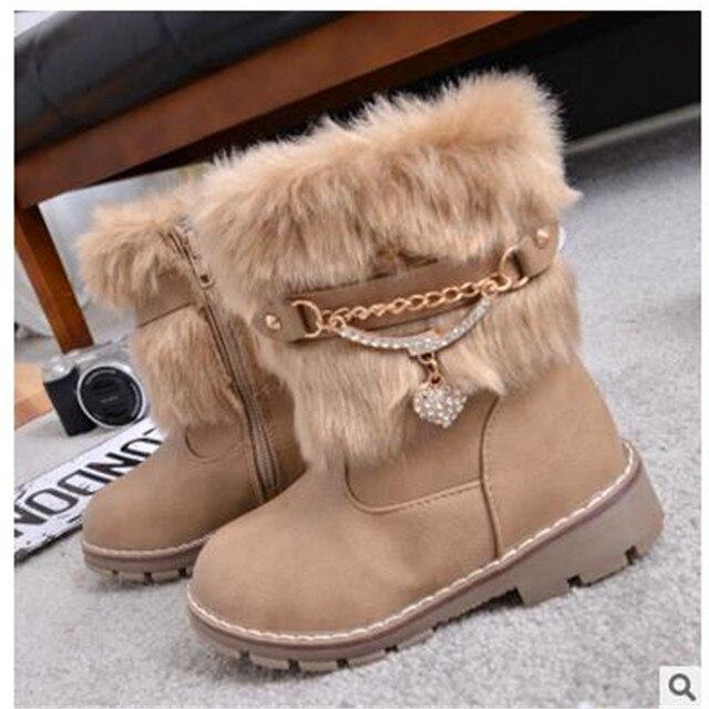 2017 new winter boots Korean version of the rabbit children girls boots non-slip snow boots warm big virgin girls boots
