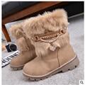 2017 nuevas botas de invierno versión Coreana del conejo niños niñas botas antideslizante botas de nieve caliente grande de la virgen niñas botas