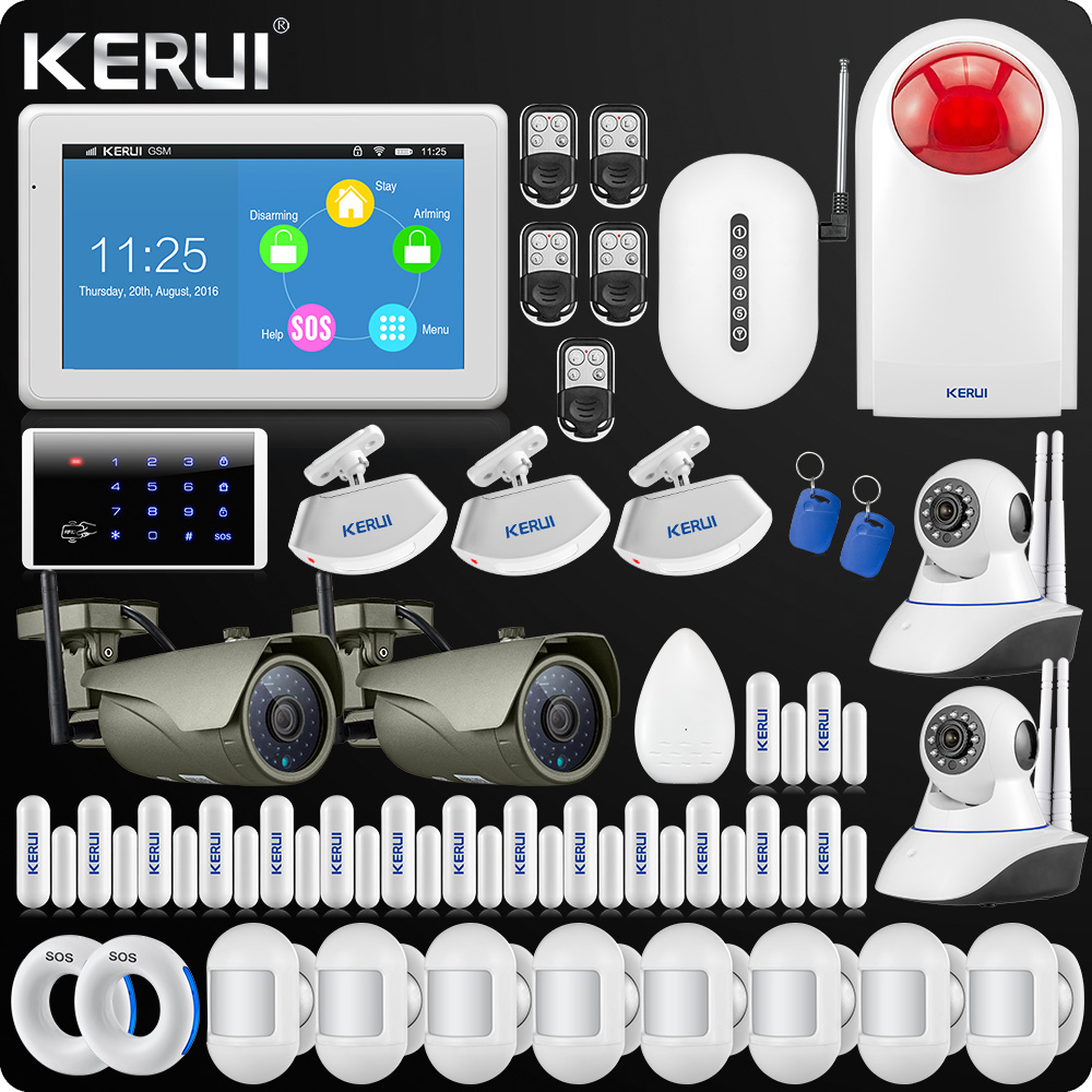 все цены на KERUI 7 Inch TFT Display Touch Screen WIFI GSM Alarm System Home Alarm Security Wifi IP Outdoor Camera Singal Repeater Portable