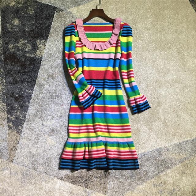 d460629fff4 Women fashion cute rainbow striped lurex wool knit sweater dress long  sleeve ruffles mermaid dresses new