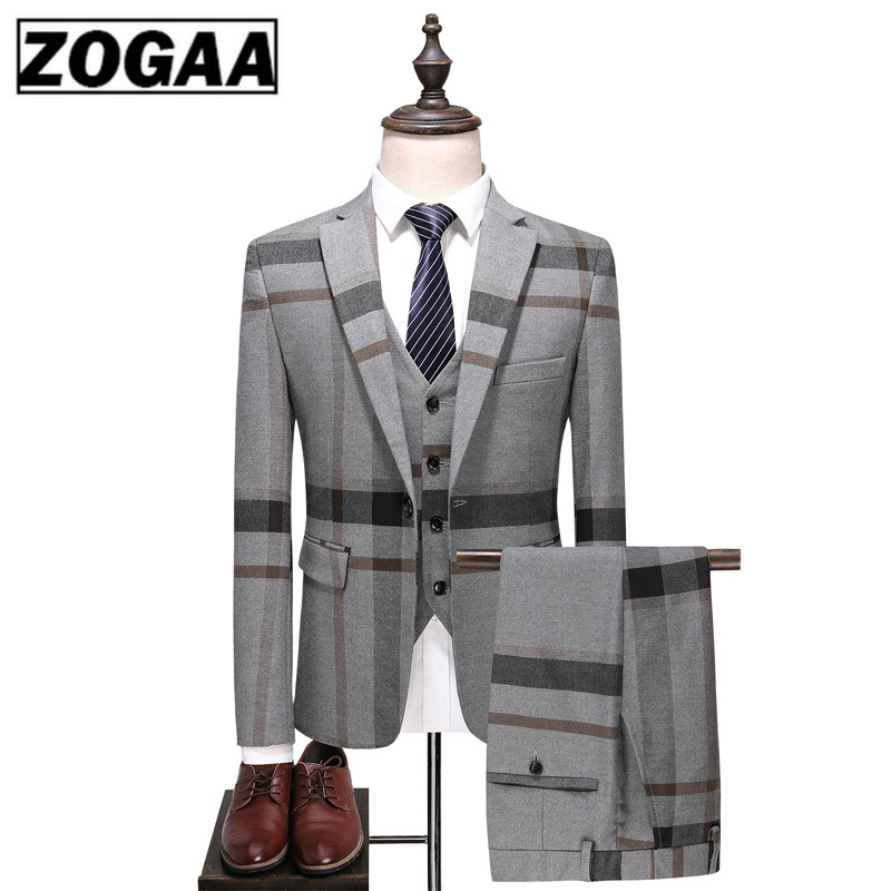 Men's Urban Fashion High-end Custom British Plaid Wedding Banquet Slim Blazers 3 Piece Set (suit + Vest + Pants) S-5XL Men Suit