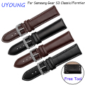 Quality Genuine Leather Watchbands 22mm Black Brown Smart Watch Strap For Samsung Gear S3 Classic/Forntier With Fine Steel Clasp
