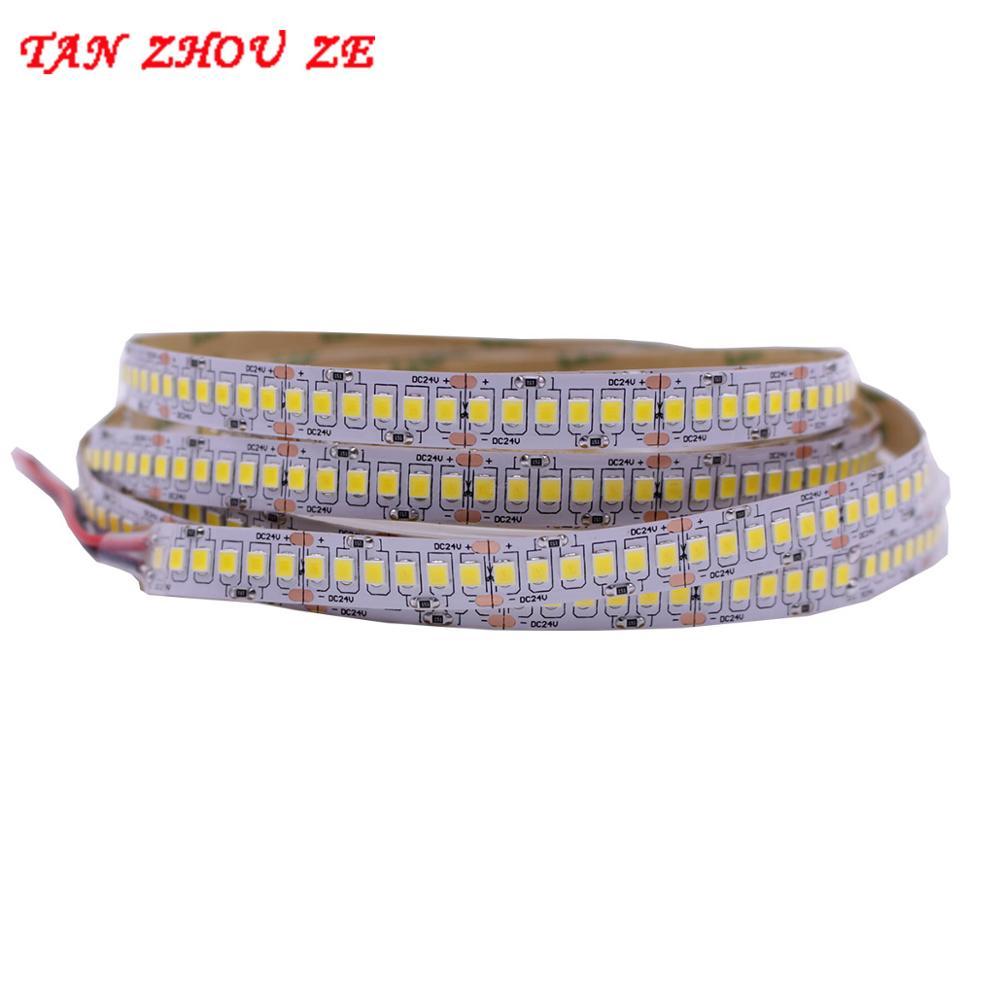1800lm/m High CRI>80 5m 1200 LED 2835 Bande LED 12V 24v Lights Sttrip Flexible Llight 240 Led/m LED Strip White Warm White