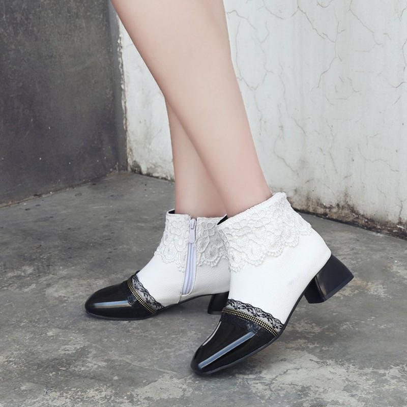 Plus Size 34 43 New Women Boots Fashion Patent Leather Square Toe Ankle Boots Sexy Lace Cuff Ladies High Heels Shoes Woman Mujer in Ankle Boots from Shoes