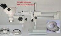 FYSCOPE 4X-100X ! DOUBLE BOOM STAND BINOCULAR HEAD STEREO ZOOM MICROSCOPE+64LED