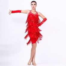 hot sale fashion good quality sexy tassel Latin dance dress yellow/blue/red charming tango/rumba/samba dance competition dress