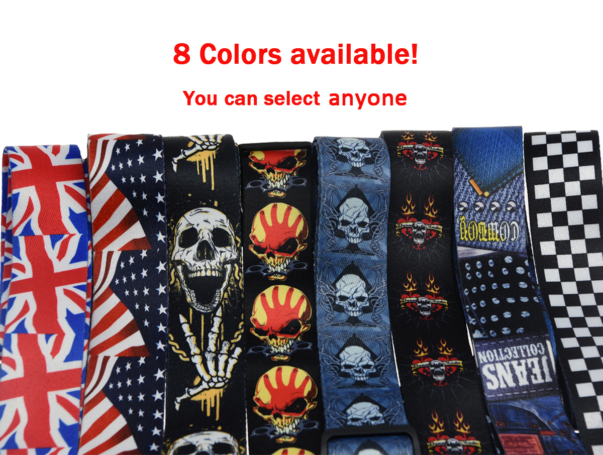 KAISH 2 Soft Polyester Acoustic Electric Guitar Bass  Adjustable Strap print Skull grid Printing amumu cotton guitar strap for acoustic electric guitar and bass solid color guitar belt adjustable 66 126 cm length s309