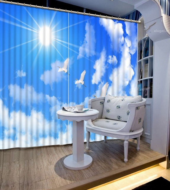 best drapes for living room wall clock curtains sun blue sky white clouds sunshine 3d beautiful window drapery