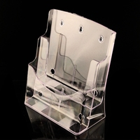Wall Rack A4 Acrylic Data File Brochure Display Stand 2 Layer Half Page Brochure Holder Book
