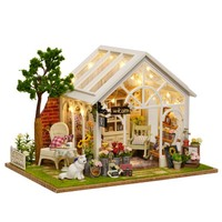 DIY Doll House Wooden Doll Houses Miniature dollhouse Furniture Kit Toys for children Gift doll houses Sunshine Greenhouse A 063
