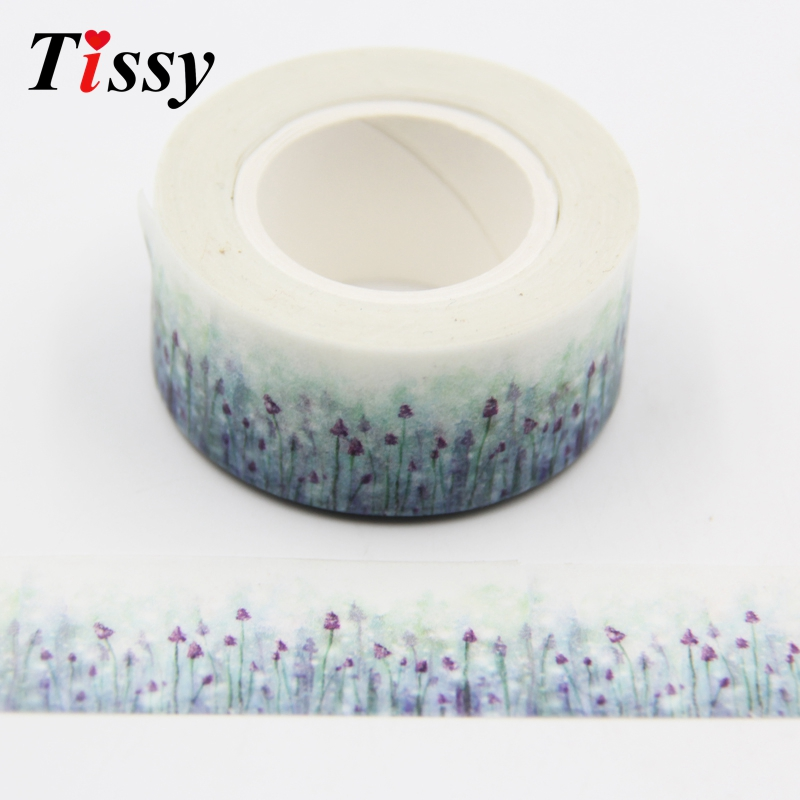 Hot Sales!1PC 10M Beautiful Lavender Flower Washi Paper Tape For Masking&Scrapbooking Tape DIY Crafts Gift Wrapping Sticker