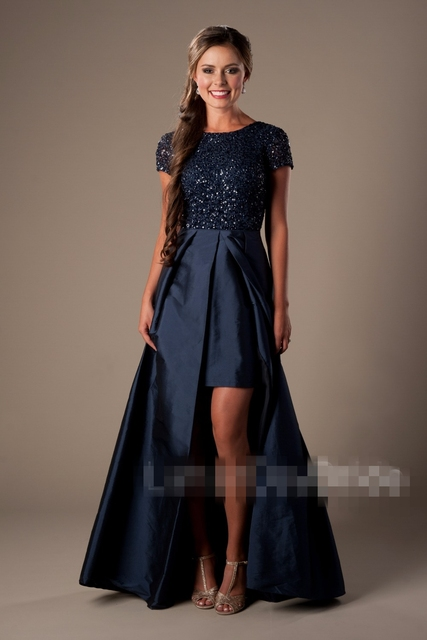c30bddcb528d Navy Blue High low 2019 Modest Prom Dresses Short Sleeves Heavily Beaded  Bodiece Short Front Long Back Sparkly Prom Party Dress