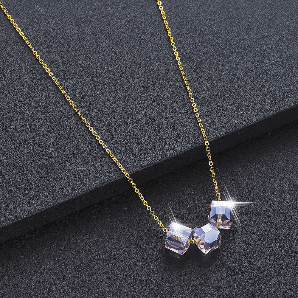 Chandler Natural Square Bead Necklaces & Pendants For Lover Gem Stone Pink Quartz White Crystal Healing Necklace Charm Jewelry