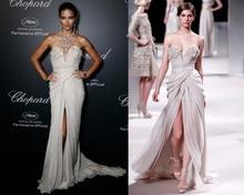 2016 Cannes Weißen Abendkleid Lange Chiffon Muster Sexy Abendkleid Plus Size Formale Celebrity Kleider marokkanischen kaftan