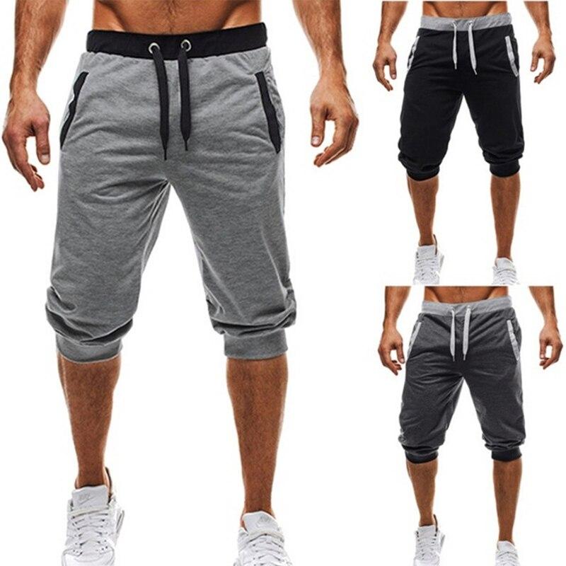 Men's Five-Point Pants Fashion Knee Length Casual Patchwork Sweat Pant Slim Fit Fitness Pants Man Capris