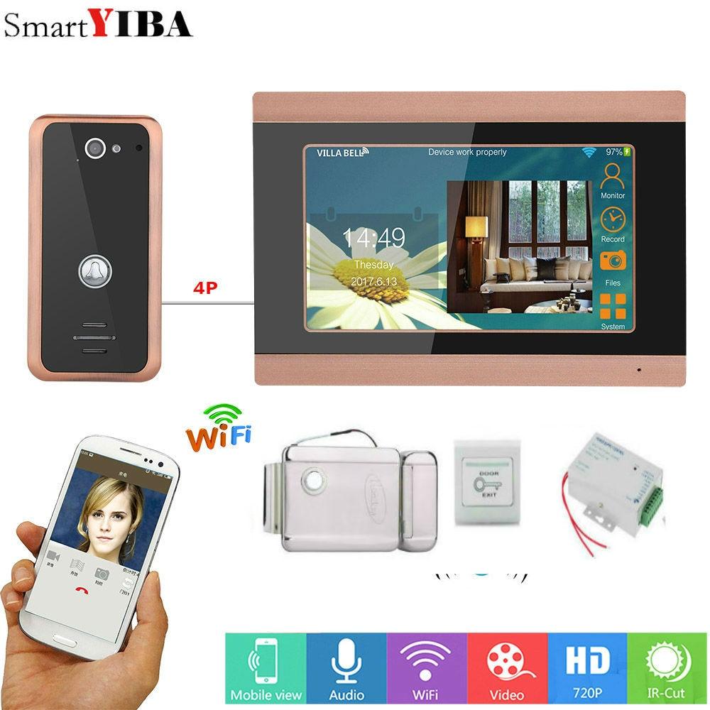 SmartYIBA 7inch Wired Wifi Video Door Phone Doorbell Intercom Entry System with Support Remote Door Lock Power Supply