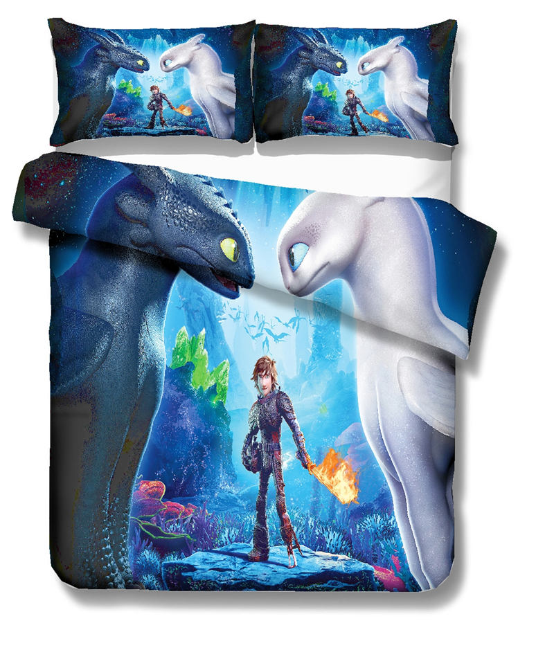 Musolei How To Train Your Dragon 3D Bedding Set Queen Size Duvet Cover set comforter cover set bedclothes Home room Textiles