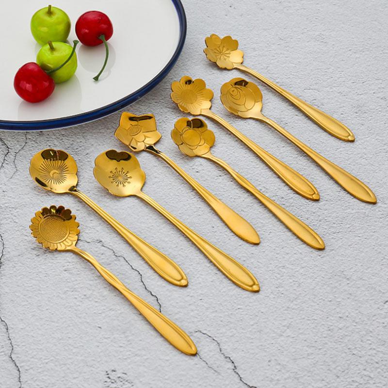 8Pcs/set Stainless Steel Flower Shape Teaspoon Sugar Coffee Ice Cream Tableware