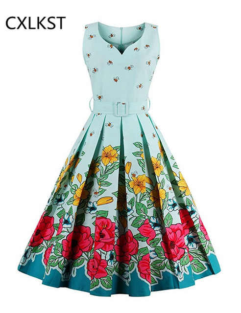 979e1bc2efaf CXLKST Women s Elegant Vintage 1950 s Sleeveless Floral Spring Garden  Picnic Dress Casual Party Dress with Belt Summer