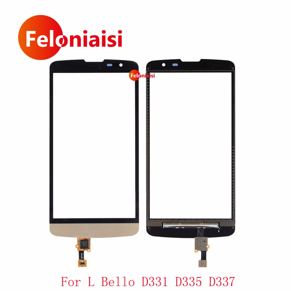 High Quality 5.0 For LG L Bello D331 D335 D337 Touch Screen Digitizer Sensor Outer Glass Lens Panel Black White Gold+Tracking