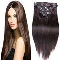 Moda hermosa Clip en extensiones de cabello 7A brasileño Clip en extensiones de cabello humano heterosexual Color 2# cabeza completa 7 8 10 unids/set