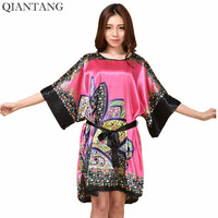 Hot Sale Lady Summer Robe Hot Pink Women S Rayon Bath Gown Yukata Nightgown Nightdress Nuisette