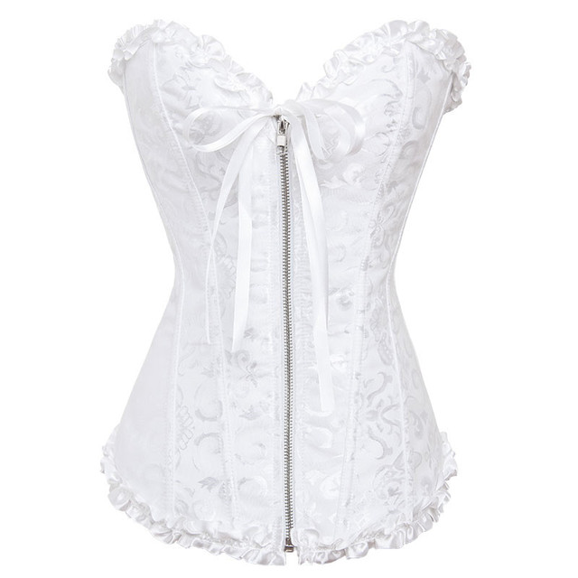 7f60c878a Women Sexy White Bustier Corpete Gothic Bridal Wedding Lingerie Jacquard  Zipper Corset Corselet Overbust Push Up Corsets