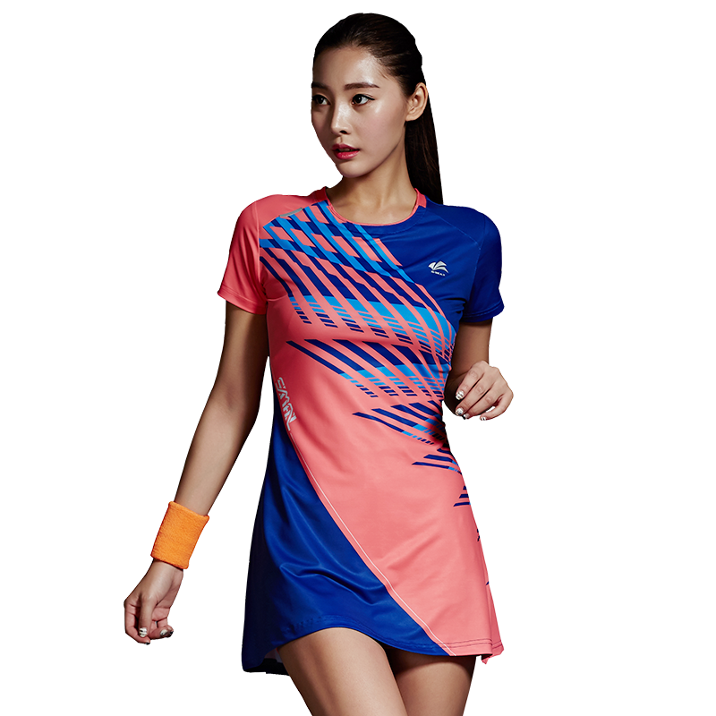 New Summer Badminton Dress Quick Drying Breathable Short Sleeved Tennis Suit Teniis Dress +Short 2018 summer new badminton dress women speed dry badminton suit sports suit women s dress