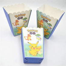 6pcs/set Pikachu Party Supplies Kids Birthday Popcorn Box Case Box Favor Accessory Birthday Pokemon Party Decoration