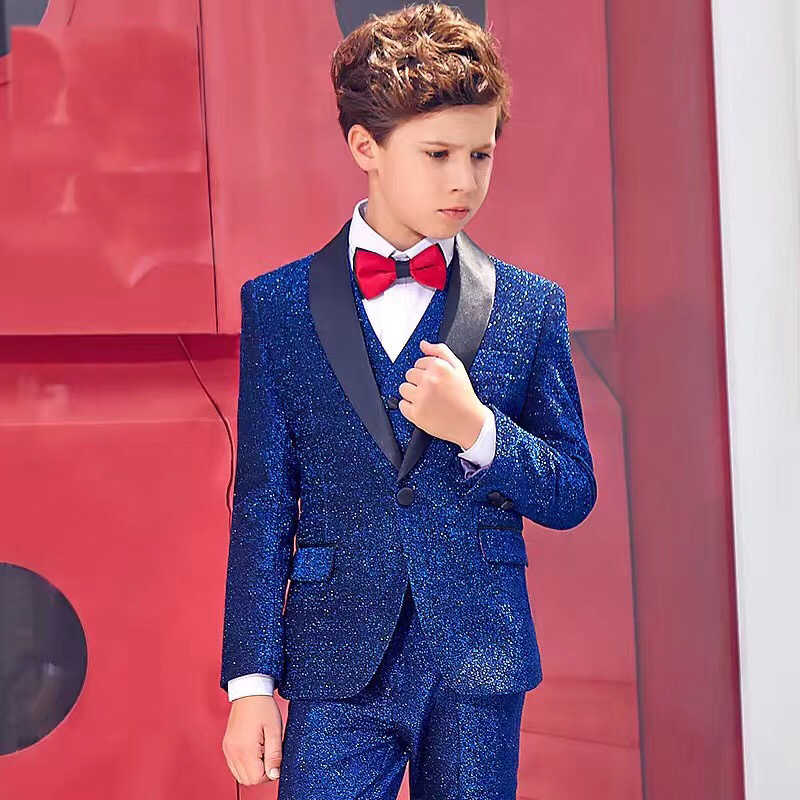 Shinny Blue One Button Wedding Suits For Boy Notch Lapel Suits Children Party Tuxedos boys Smoking blazer (jacket+pant+vest)